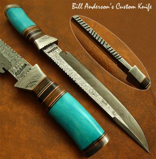 Hand Made by Bill Anderson 1 of A Kind Custom Damascus Bowie Knife