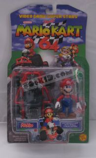 1999 Toy Biz Nintendo Mario Kart 64 Mario MOSC Mint SEALED Card Figure