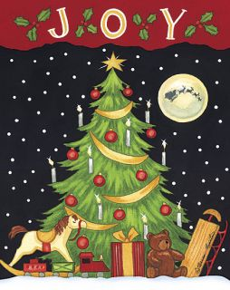 Joy Filled Night Christmas Tree Framed Print Art