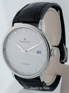Blancpain Mens Villeret Stainless Steel Automatic Watch Box Papers