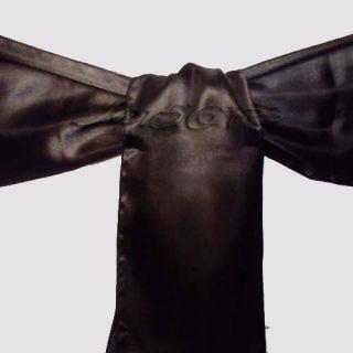 Black Satin Chair Cover Sash Bow 15cm*275cm Wedding Party Colors