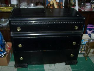 Vintage Dresser Painted Black Dove Tail All Wood Drawers