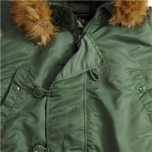 Alpha Industries N 3B Parka Sage Green Coat L Army