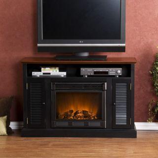 Black Walnut Media Console ELECTRIC FIREPLACE TV Stand HEATER Storage