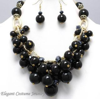 Statement Chunky Pearl Black Gold Necklace Set Elegant Costume Jewelry