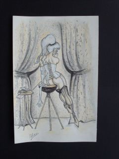 Bill Ward signed colored pencil drawing of a Sexy telephone girl