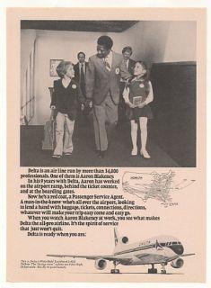 1979 Delta Airlines Passenger Service Agent Aaron Blakeney Ad