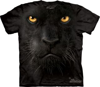 THE MOUNTAIN BLACK PANTHER BIG FACE WILD CAT ANIMAL T SHIRT M