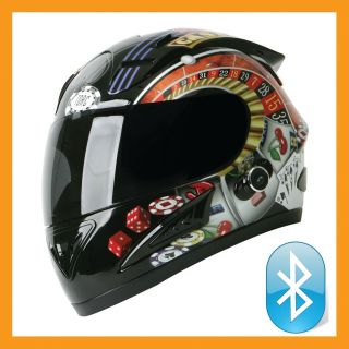 Prodity T10B Full Face Bluetooth Blinc Motorcycle Helmet Casino