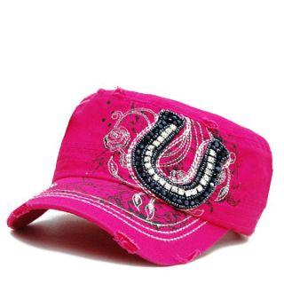 Western Horseshoe Women Bling Distressed Baseball Cap Hat Cadet Style