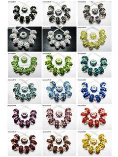 Rhinestones Bling Spacer Beads Fit European Charm 9x14mm Pick