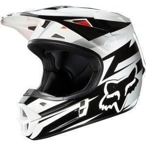 Racing Costa Youth Medium V1 Helmet White Black Dirt Bike ATV Off Road