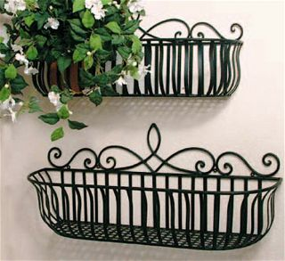 Set of 2 Iron Milano Scroll Window Box Planters Black