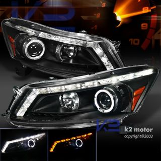 08 12 HONDA ACCORD 4DR BLACK HALO LED DRL TURN SIGNAL STRIP PROJECTOR