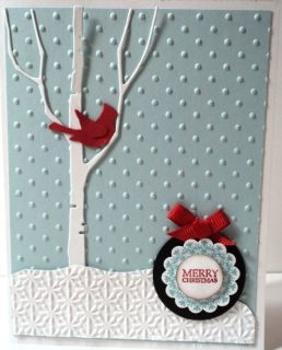 BIRCH TREE CARDINAL CHRISTMAS Card KIT Memory Box Martha Stewart