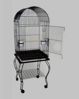 Parrot Bird Cage Cages Dome w Stand 20x20x58 600A Blk