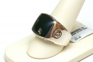 New David Yurman Mens Silver Bloodstone Ring Size 10 $575