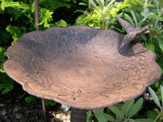 Bath w/ Hummingbird Lawn & Garden Birdbath Birdbaths Birds Yard Decor