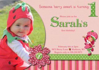 Custom Photo Strawberry Shortcake Birthday Invitation Personalized