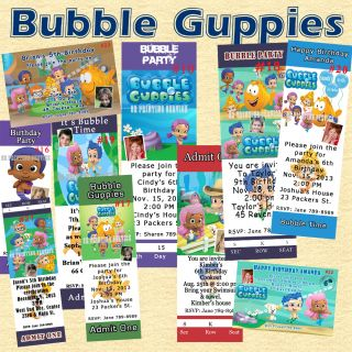 Birthday Invitations Bubble Guppies You Print Personalized Custom Made