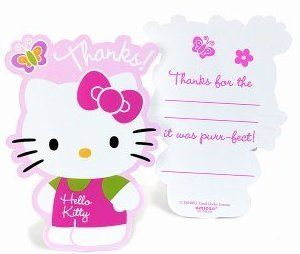 Hello Kitty Birthday Party Supplies Thank You Cards