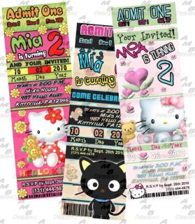 Hello Kitty Birthday Ticket Invitation Party Supplies