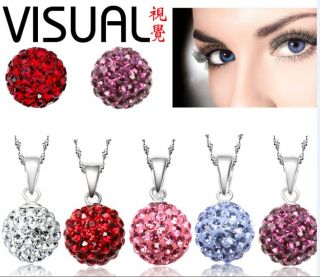 Crystal Ball Earring Necklace Jewelry Set April Birthstone