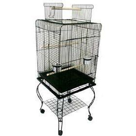 Parrot Bird Cage Top Play w Stand Wheel 20x20x57 0123