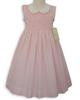 Sleeveless Pink Smocked Easter Bishop Dress 4T 4 16210
