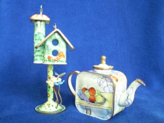 & NUMBERED ENAMELED TRINKET BOXES BY KEVIN CHEN BIRD HOUSE & TEA POT
