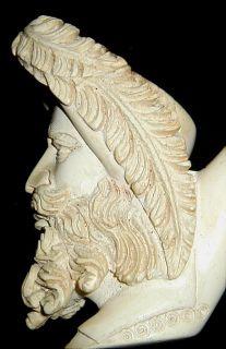 Carved Meerschaum Pipe Head~Man W/Long Beard & Feather Hat~Vtg~Beauty