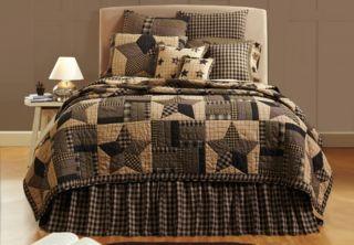 Bingham Star Black Tan Quilt Bedding Sets Luxury King King Queen Twin