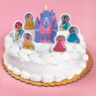 DISNEY PRINCESS BIRTHDAY CAKE TOPPER CANDLES SET CASTLE CINDERELLA