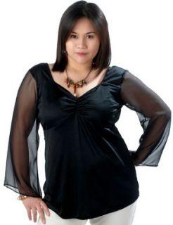 Trendy Plus Size Black Chiffon Sleeve Club Top 5X 30 32