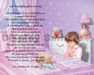 Gift For Granddaughter Personalized Poem Bedtime Prayer Print