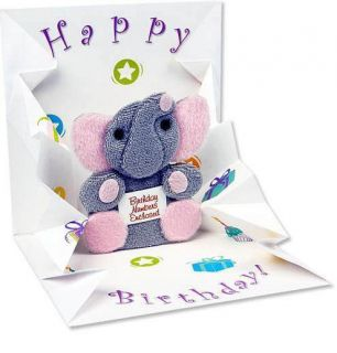 Adorable Pop Up 1st Happy Birthday Card Plush Elephant Pops Up Cute