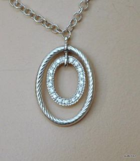 New $1795 Charriol Flamme BLANCHE18K White Gold Diamond Necklace Sale