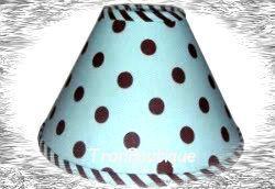 CUSTOM BLUE BROWN POLKA DOTS LAMPSHADE ~ LAMP SHADE * NEW