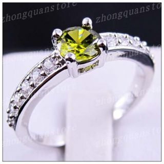 Sz7 Jewellery Bland New Peridot Ladys 10KT White Gold Filled Ring