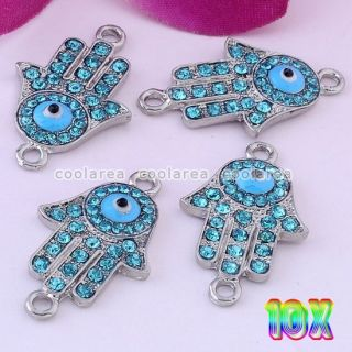 10pcs Blue Crystal Palm Demon Evil Eye Connector Charm Pendant Jewelry