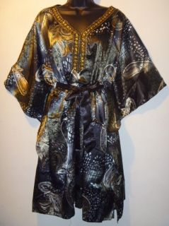 NWT Jeweled Black & Gold Angel Sleeve Poncho Dress 1 SIZE XL 1X 2X 3X