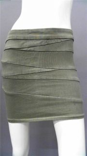 Blank NYC Ladies Womens 26 Cotton Mini Skirt Olive Green Bandage