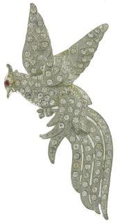 1930s Rhinestone Sparrow Phoenix Bird Pin Brooch