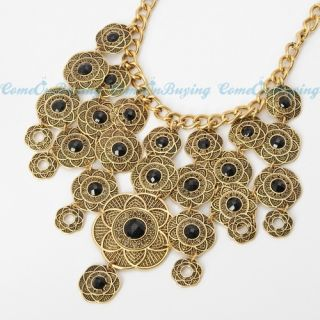 Chain Flower Hollow Black Circle Resin Beads Pendant Necklace