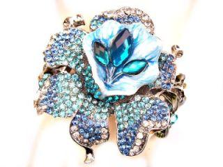 Orchid Flower Blue Swarovski Crystal Silver Bracelet