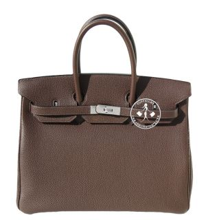 35 HERMES BIRKIN BAG  CHOCOLATE BROWN TOGO I PALLADIUM  #9400Z