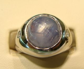 Mens 14k White Gold Diamond Blue Star Sapphire Ring