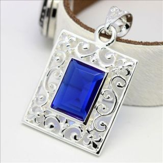 p10c3 blue topaz silver pendant jewelry for necklace