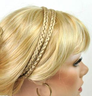 Boho Double Braided Synethic Hair Headband Hair Piece Choose Color