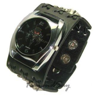 K019 Black Skull Leather Wrist Watch Hand Cuff Bracelet